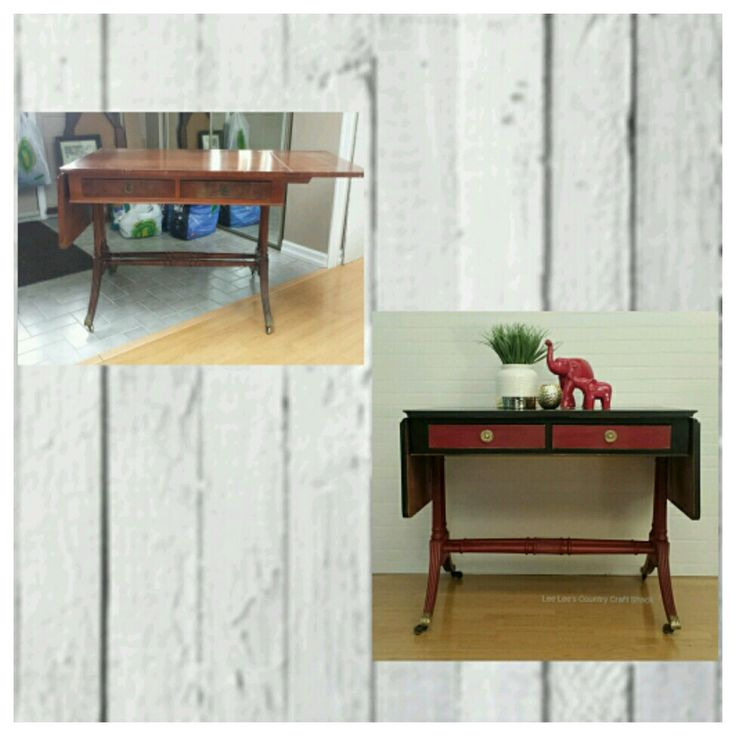 This Antique drop leaf table was done in Red and Black chalk paint. It's a piece I have done and am donating to a charity auction.