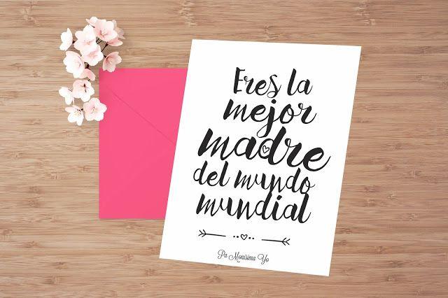 Tarjeta lista para descargar e imprimir. Freebie para felicitar el Día de la madre. Eres la mejor madre del mundo mundial ♥