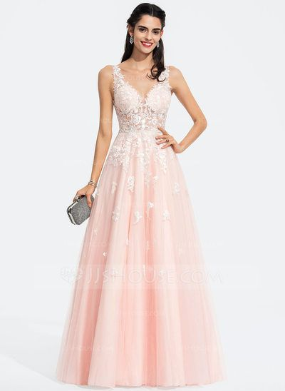 afb88b494 A-Line V-neck Floor-Length Tulle Prom Dresses With Beading Sequins ...