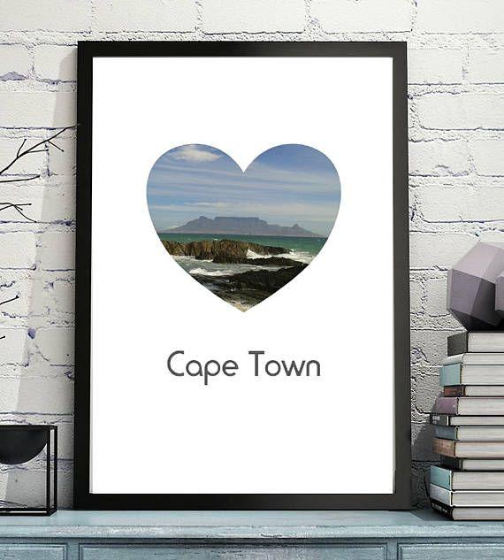 Cape Town Heart  Art Printable Digital File Travel Images  #art #prints  #capetown  #travel  #travelart  #printables  #Etsy