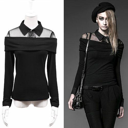 Women Black Silk Long Sleeve Gothic Punk Rock Dress Tops SKU-11409335