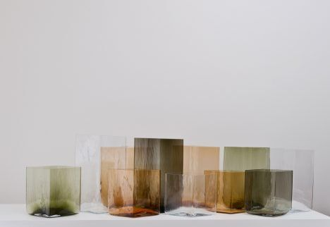 French designers Ronan and Erwan Bouroullec have used wooden moulds to produce giant versions of their diamond-shaped Ruutu vases.
