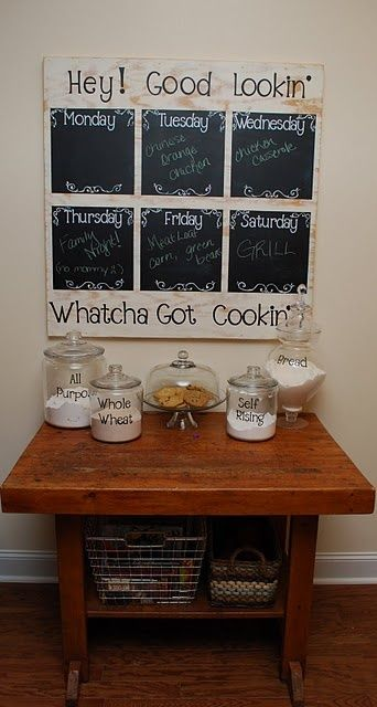 Kitchen Organization great way to let everyone know whats for supper the next night