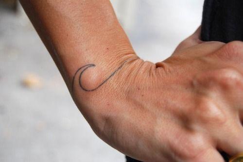 Simple wave wrist tattoo.