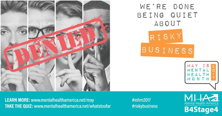 Across communities in the U.S. our affiliates and others are preparing for May is Mental Health Month. Have you downloaded our toolkit yet? Celebrate Mental Health Month and share to spread mental health awareness  #MHM2017 #riskybusiness