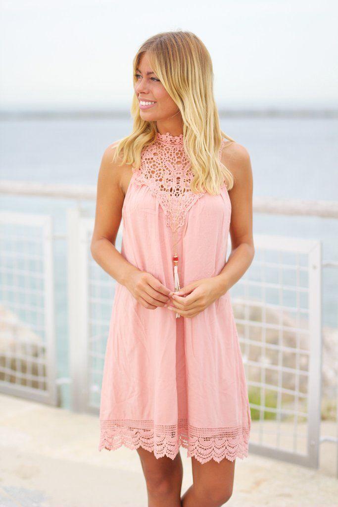 Blush Crochet Short Dress