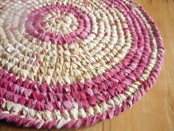 Spring Round Rag Rug  24  Upcycled cotton fabric by MagicByCrochet