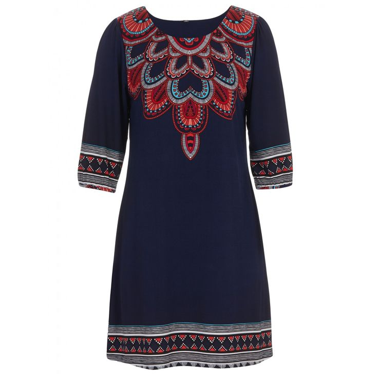 Indian-print Dress Navy