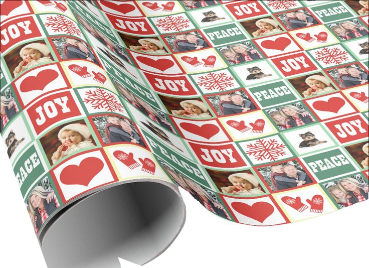 Add 4 Family Photos to this Custom Christmas Wrapping Paper