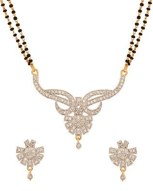 Gold Plated Glorious Floral Mangalsutra Set With Double Chain - PSJAI23661