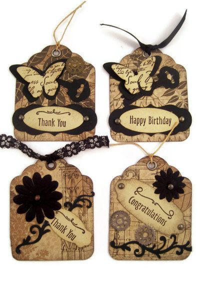 Tags Gift Tags Hand Stamped Tags Thank You Happy by ArtByDawnRene, $8.00