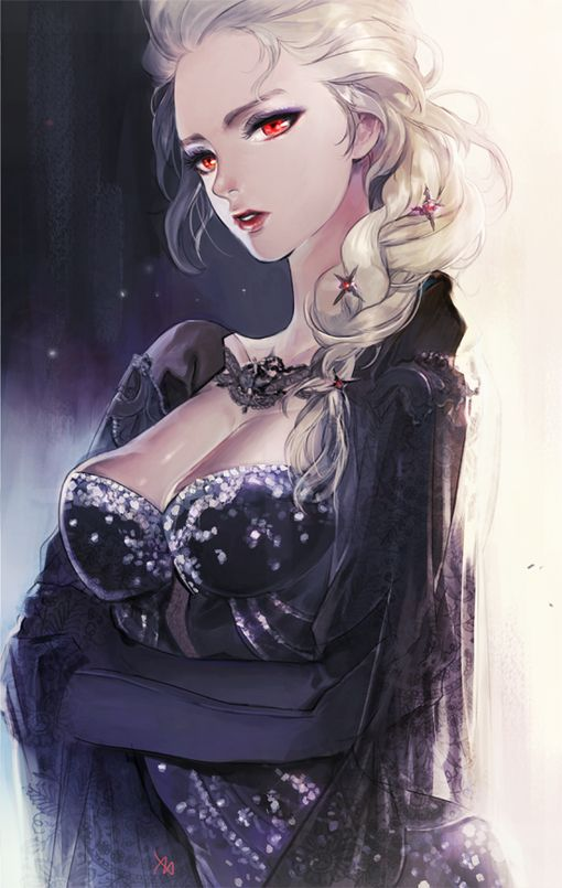 """Darker version of Elsa from """"Frozen"""" - Art by ZIS - I wonder if this is what she could have looked like if she was the villain. Yes, I know there's an official concept art design for that and that it was changed after """"Let It Go"""" was composed. What I mean is if she turned evil during the course of the film itself. Something to think about, you know."""