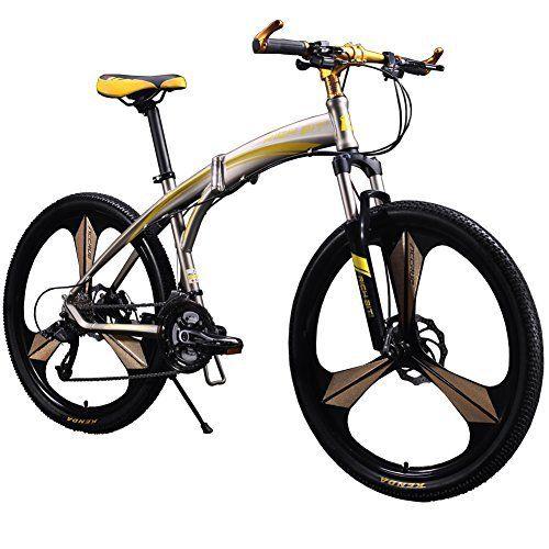 Richbit New 601 Yellow 26 inch Mens Aluminum Folding Mountain Bike 27 Speeds 3 Spokes - http://www.bicyclestoredirect.com/richbit-new-601-yellow-26-inch-mens-aluminum-folding-mountain-bike-27-speeds-3-spokes/