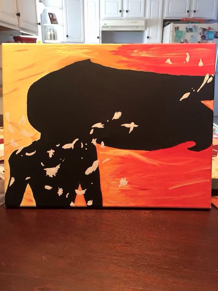 Pocahontas Disney ombré canvas art silhouette