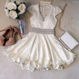 Vestido Boneca Camilla na Renda c/ Neoprene C/ BOJO ( COR OFF WHITE)