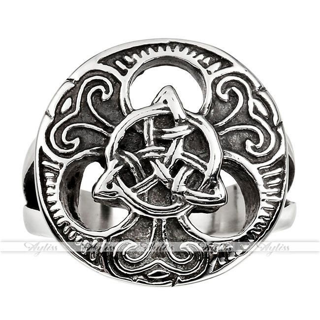 Elegant Mens Gothic Stainlsee Steel Celtic Knot Magic Finger Ring Jewelry Us9-13
