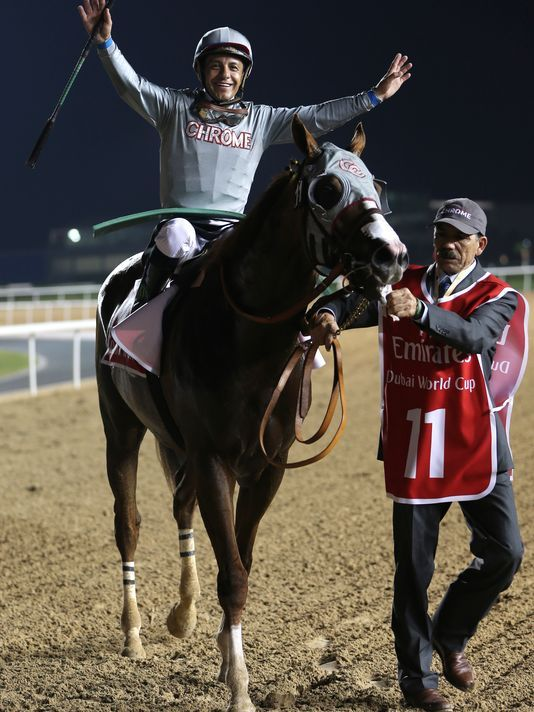 Victor Espinoza on the 2016 Dubai World Cup winner, his 'other' horse, 2014 Horse of the Year, the Kentucky Derby-Preakness winner, California Chrome. Victor has ridden two Horses of the Year back-to-back in California Chrome 2014, and American Pharoah 2015.