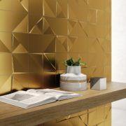 3D dekor csempék, melyek lenyűgöző hatást érnek el. A modernség és az elegancia tökéletes egyesülése. Az Alea gyár termékei valódi arany, ezüst és bronz fémport tartalmaznak. #Alea #3D #arany #valódi fém #dekor #falicsempe #design