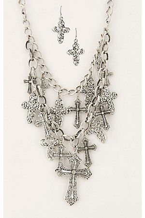 Cattilac Style Silver Chain w/ Multiple Cross Charms Jewelry Set