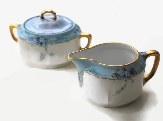 Antique KPM Porcelain Sugar Bowl&CreamerHand Painted Blue