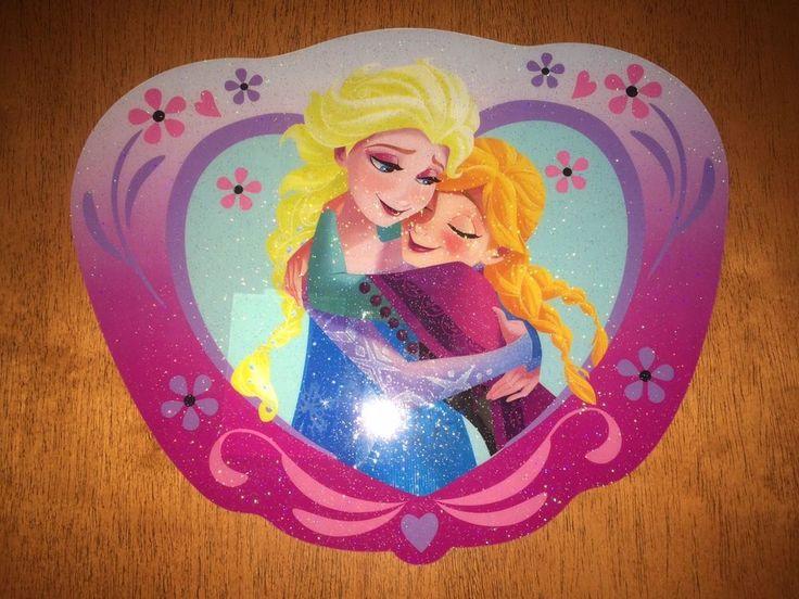 New Disney Frozen vinyl glitter placemat sisters Elsa and Anna  | eBay