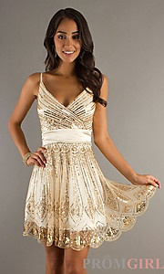 Buy Sequin Embellished V-Neck Short Dress at PromGirl Prom 1920s-- this would be awesome for a 1920s birthday party or prom after party