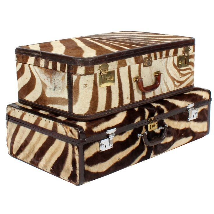 Two Custom Made Vintage Zebra Suitcases Priced Individually | From a unique collection of antique and modern trunks and luggage at http://www.1stdibs.com/furniture/more-furniture-collectibles/trunks-luggage/