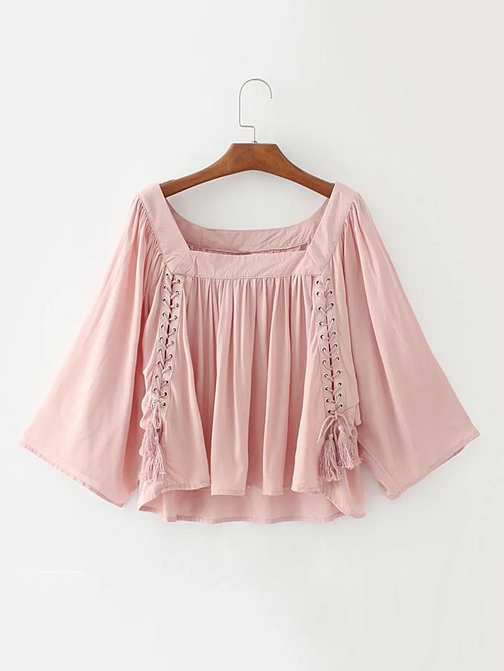 Shop Square Neck Eyelet Lace Up Top With Fringe online. SheIn offers Square Neck Eyelet Lace Up Top With Fringe & more to fit your fashionable needs.