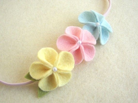 Emily - 3 color wool felt flower elastic headband - super cute for Easter