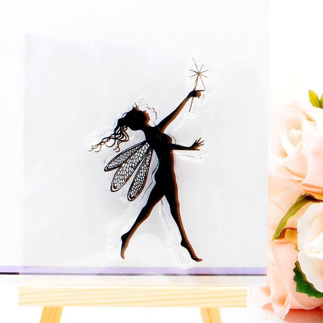 DECORA 1 PZ Angel Girl Fata Del Silicone di Disegno Trasparente Timbro FAI DA TE Scrapbooking Decorazione Di Natale Forniture