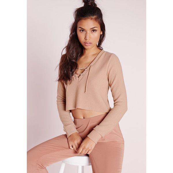 Missguided Ribbed Lace Up Sweatshirt ($37) ❤ liked on Polyvore featuring tops, hoodies, sweatshirts, nude, long sleeve tops, cropped sweatshirt, pink sweatshirts, lace up top and ribbed top