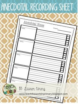 Anecdotal Notes Template                                                                                                                                                                                 More