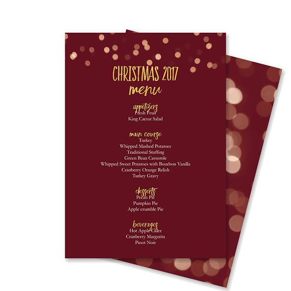 13 best Christmas Menus images on Pinterest Christmas menus - cocktail menu template free download