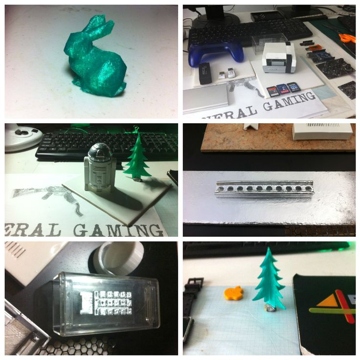 A collection of recent prints. a) bunny b) NES Raspberry Pi case c) StarWars R2D2 d) A mini steel construction girder e) A CPU from a t-800 Terminator and f) A Christmas Tree