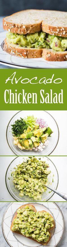 Avocado Chicken Salad ~ Easy and Healthy! Avocado chicken salad with avocado, chopped cooked chicken, apple, celery, and onion. No Mayo!