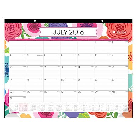 "Love that this is huge AND colorful Blue Sky™ Monthly Desk Pad Calendar, 22"" x 17"""