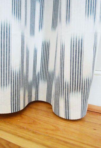Chic Modern Navy Blue White Designer Curtain Panels Pair | eBay