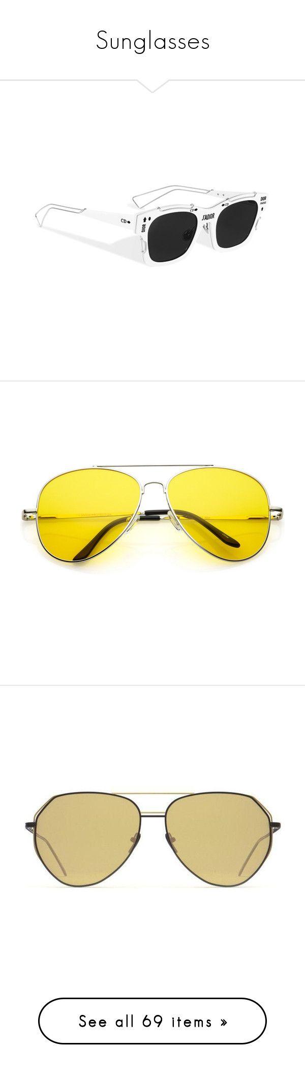 """Sunglasses"" by milenn-h ❤ liked on Polyvore featuring accessories, eyewear, sunglasses, retro sunglasses, star sunglasses, christian dior eyewear, christian dior sunglasses, christian dior, sunglass and yellow aviator sunglasses"