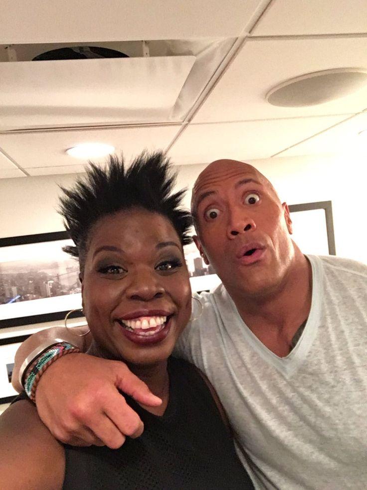 "Dwayne ""The Rock"" Johnson with comedian Leslie Jones"