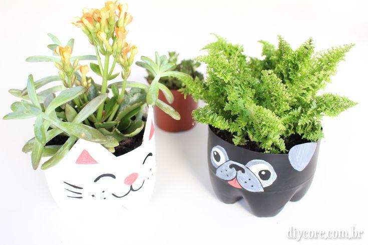 DIY - Vaso de Gatinho e Pug (Com Garrafa Pet)