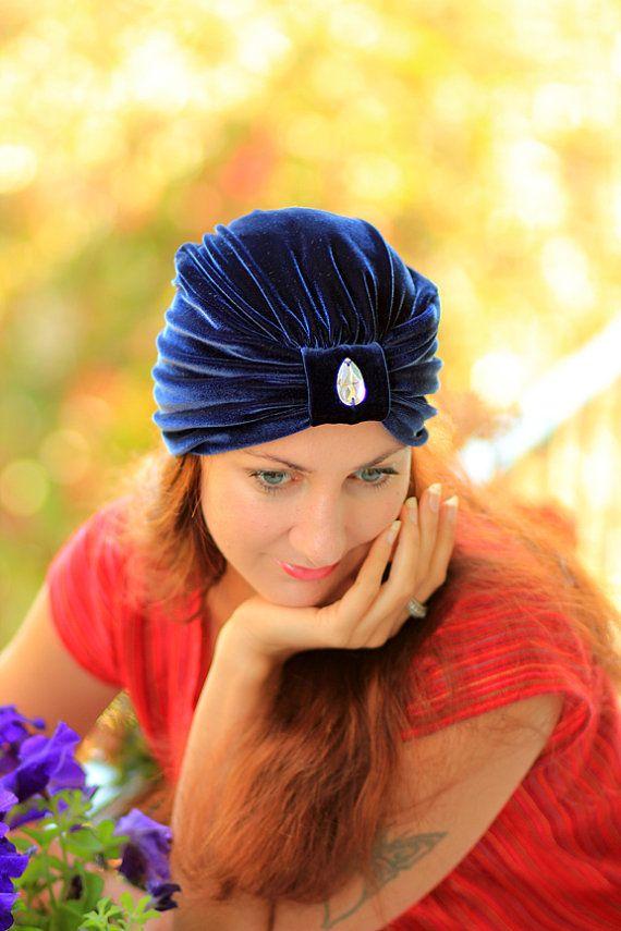 Velvet Turban - Navy Blue with Tear Drop - Bohemian Fashion