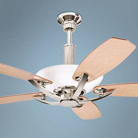 Stylish And Contemporary, The Kichler Palla Ceiling Fan Comes In A Polished  Nickel Finish With Beautiful White Etched Glass.