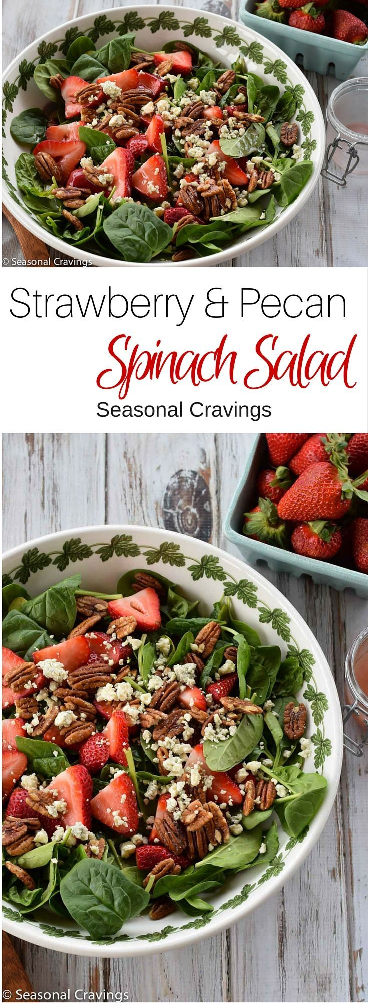 Strawberry and Pecan Spinach Salad - healthy, delicious way to eat fresh summer strawberries.