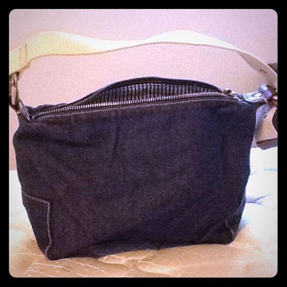 Small denim GAP handbag Small, cute, fashionable, denim GAP handbag. Blue and white stripped lining with zippered pocket inside. GAP Bags