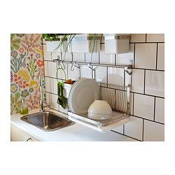 IKEA - GRUNDTAL, Dish drainer, Can be hung on GRUNDTAL rail to free up space on the countertop.Removable tray underneath to collect water from the drainer.