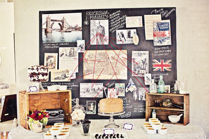 Sherlock, crime scene, Halloween Party decor, murder mystery, Victorian era, dessert bar, British flag decor
