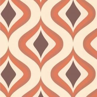Retro wall paper to introduce a pattern within color scheme