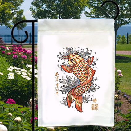 Asian Koi Fish Tattoo Art Small Garden Yard by SabellasEmporium