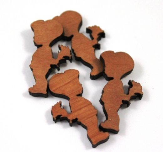 8 Pieces. Little Boy & Posie of Flower Charms -Mixed Laser Cut Wood -Earring Supplies- Laser Cut Supplies- Little Laser Lab Sustainable Wood Products | littlelaserlab.com