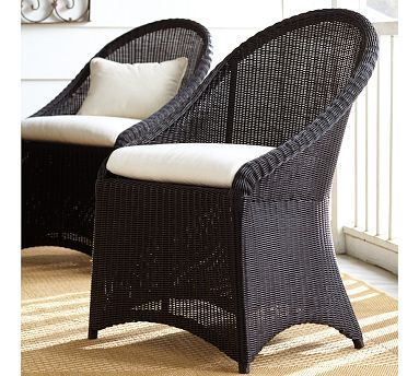 Palmetto All-Weather Wicker Dining Chair - Black #potterybarn :: @Betsy Stephenson - Just a great chair for the sunroom dining table - whether it's a rough natural table or something  else. Your thoughts??